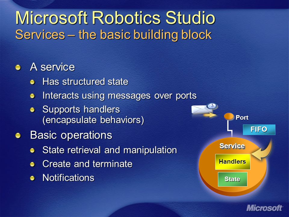 A service Has structured state Interacts using messages over ports Supports handlers (encapsulate behaviors) Basic operations State retrieval and manipulation Create and terminate Notifications Port ServiceService State Handlers FIFO Microsoft Robotics Studio Services – the basic building block
