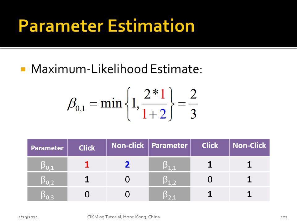 Maximum-Likelihood Estimate: 1/29/2014CIKM'09 Tutorial, Hong Kong, China101 Parameter Click Non-clickParameterClickNon-Click β 0,1 12β 1,1 11 β 0,2 10