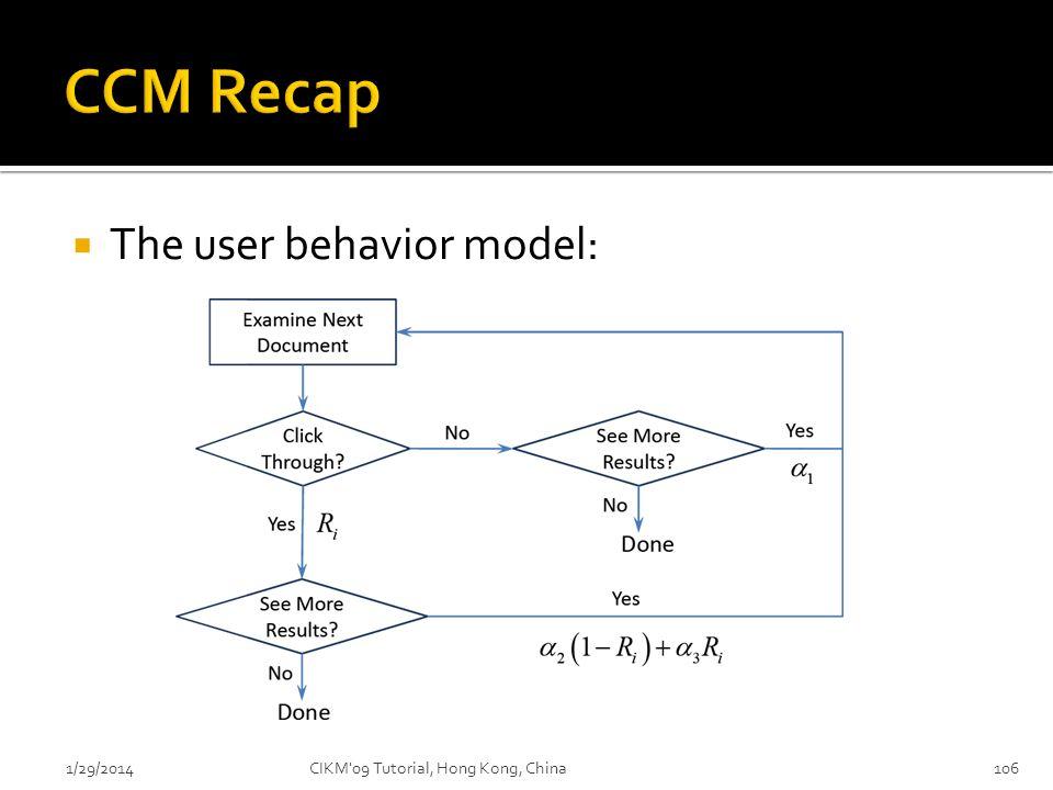 The user behavior model: 1/29/2014CIKM'09 Tutorial, Hong Kong, China106