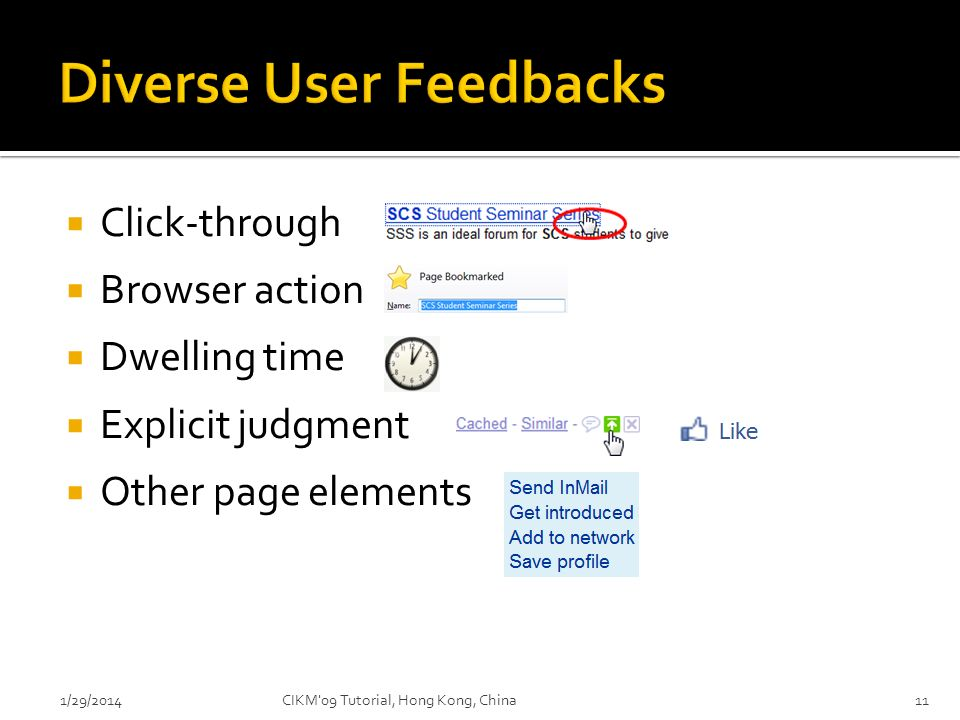 Click-through Browser action Dwelling time Explicit judgment Other page elements 1/29/2014CIKM'09 Tutorial, Hong Kong, China11