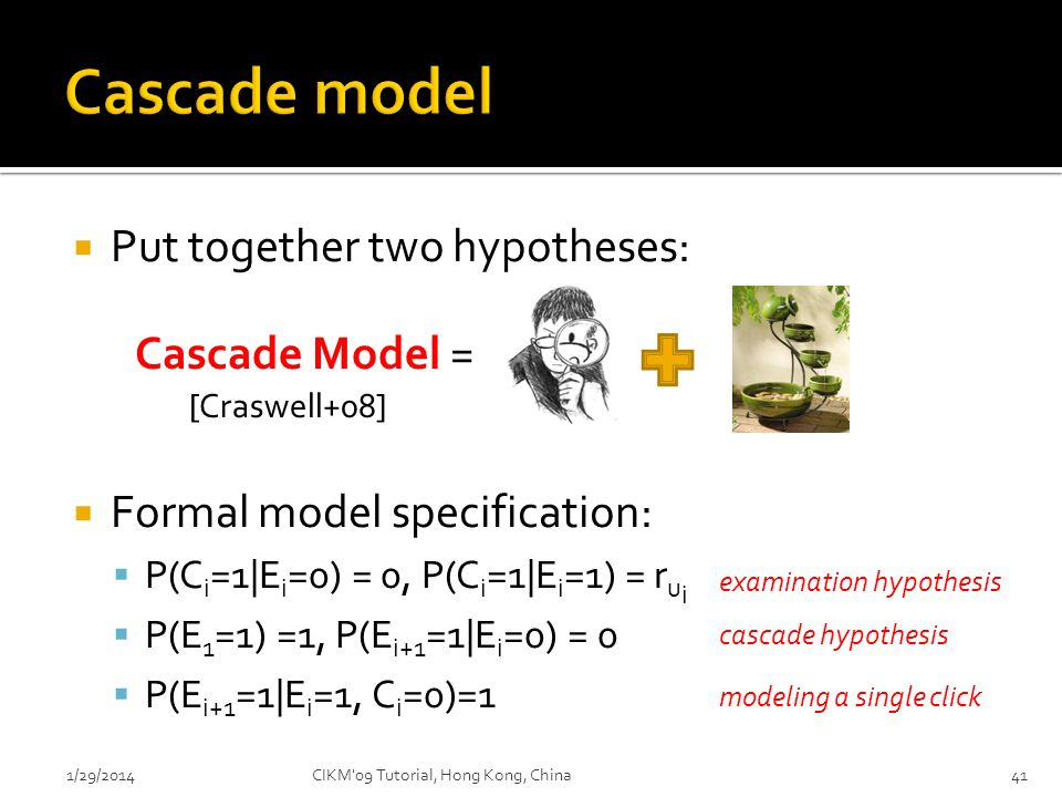 Put together two hypotheses: Formal model specification: P(C i =1|E i =0) = 0, P(C i =1|E i =1) = r u i P(E 1 =1) =1, P(E i+1 =1|E i =0) = 0 P(E i+1 =