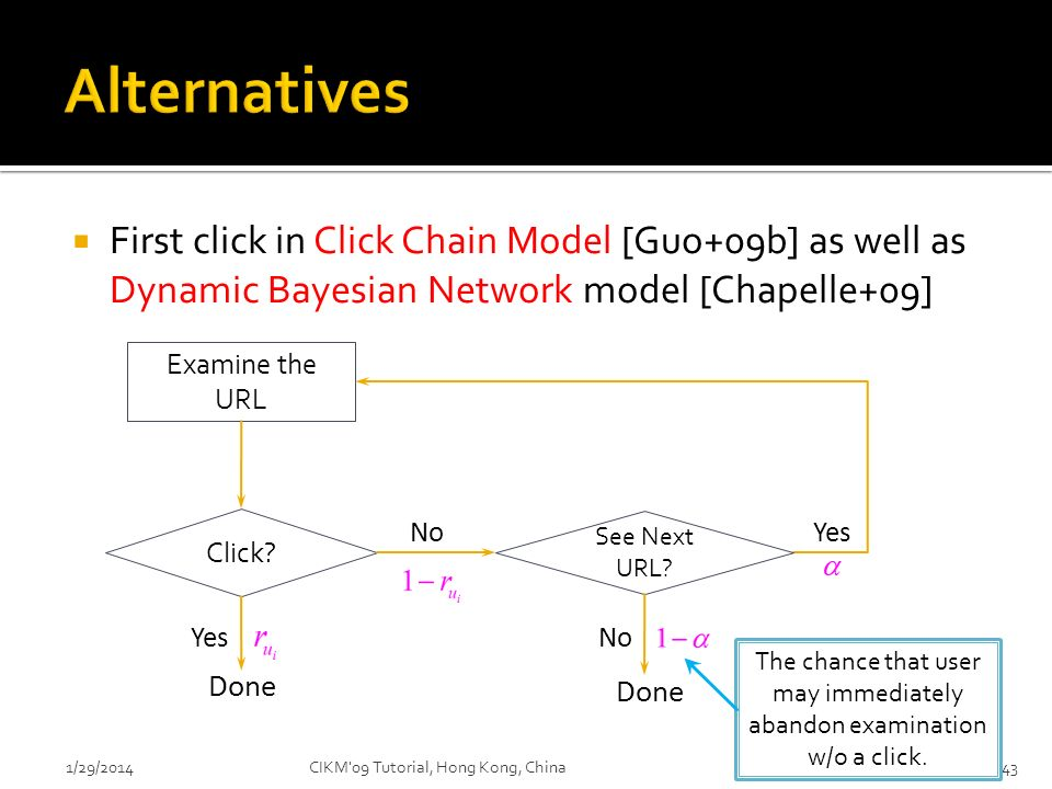 First click in Click Chain Model [Guo+09b] as well as Dynamic Bayesian Network model [Chapelle+09] 1/29/2014CIKM'09 Tutorial, Hong Kong, China43 The c