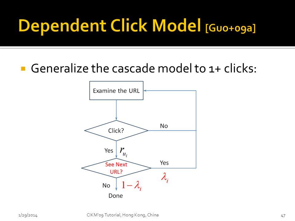 Generalize the cascade model to 1+ clicks: 1/29/2014CIKM'09 Tutorial, Hong Kong, China47