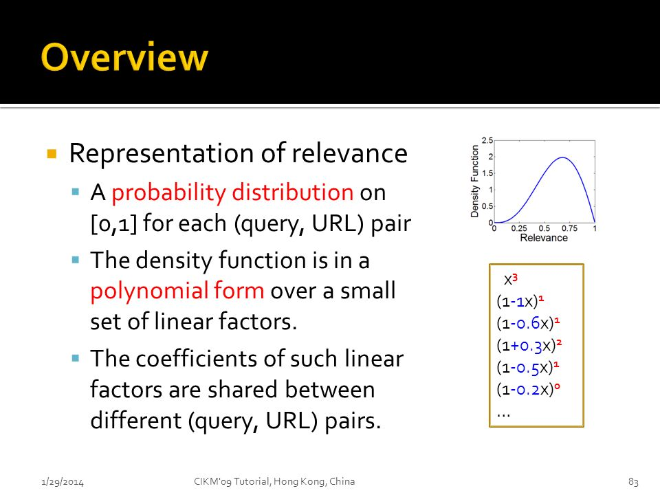 Representation of relevance A probability distribution on [0,1] for each (query, URL) pair The density function is in a polynomial form over a small s
