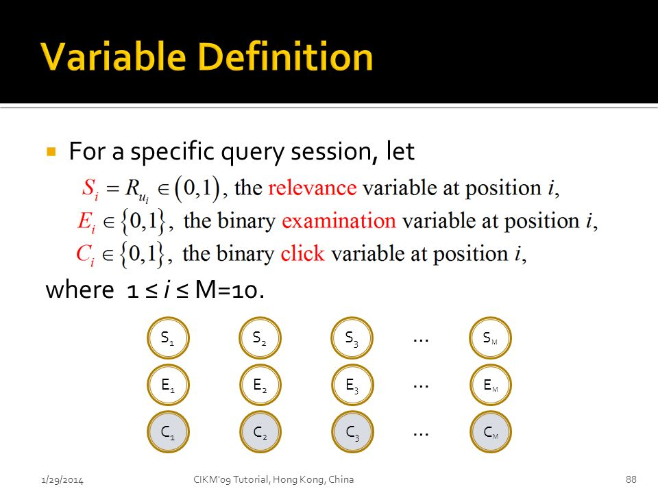 For a specific query session, let where 1 i M=10. 1/29/201488 S1S1 S2S2 S3S3 SMSM … E1E1 E2E2 E3E3 EMEM … C1C1 C2C2 C3C3 CMCM … CIKM'09 Tutorial, Hong