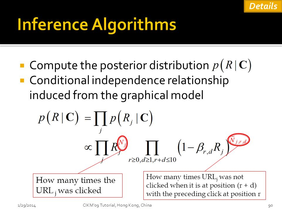 Compute the posterior distribution Conditional independence relationship induced from the graphical model 1/29/201490 How many times the URL j was cli