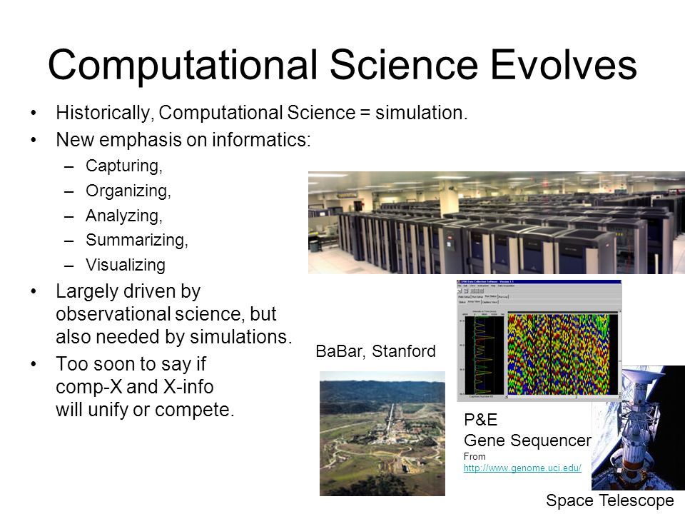 5 Computational Science Evolves Historically, Computational Science = simulation.