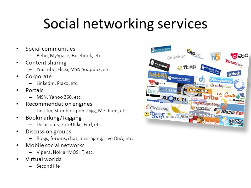 Social networking services Social communities – Bebo, MySpace, Facebook, etc.
