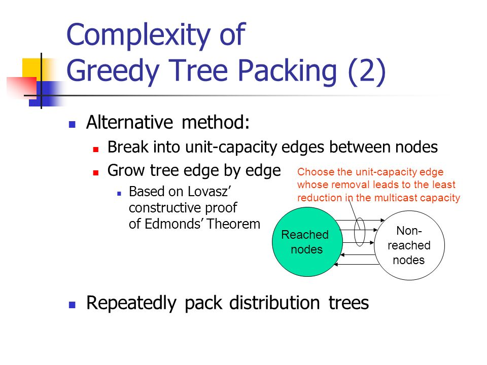Complexity of Greedy Tree Packing (2) Alternative method: Break into unit-capacity edges between nodes Grow tree edge by edge Based on Lovasz constructive proof of Edmonds Theorem Repeatedly pack distribution trees Reached nodes Non- reached nodes Choose the unit-capacity edge whose removal leads to the least reduction in the multicast capacity