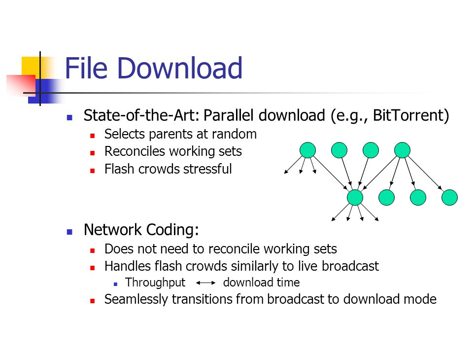 File Download State-of-the-Art: Parallel download (e.g., BitTorrent) Selects parents at random Reconciles working sets Flash crowds stressful Network Coding: Does not need to reconcile working sets Handles flash crowds similarly to live broadcast Throughput download time Seamlessly transitions from broadcast to download mode