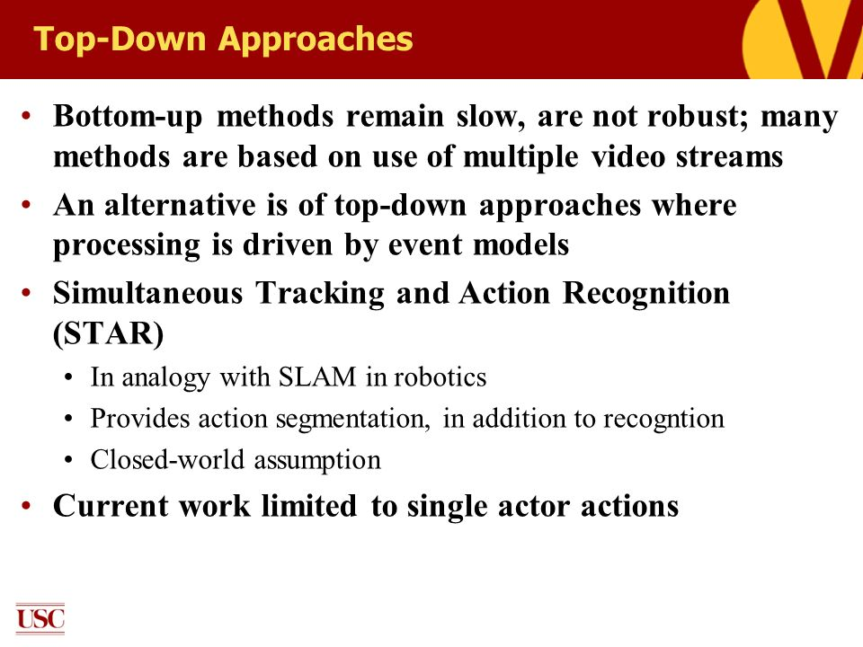 Top-Down Approaches Bottom-up methods remain slow, are not robust; many methods are based on use of multiple video streams An alternative is of top-do