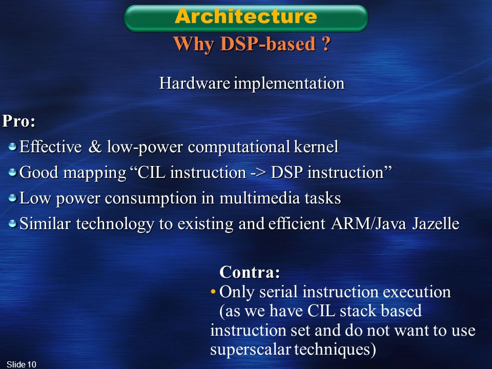 Slide 10 Architecture Why DSP-based .