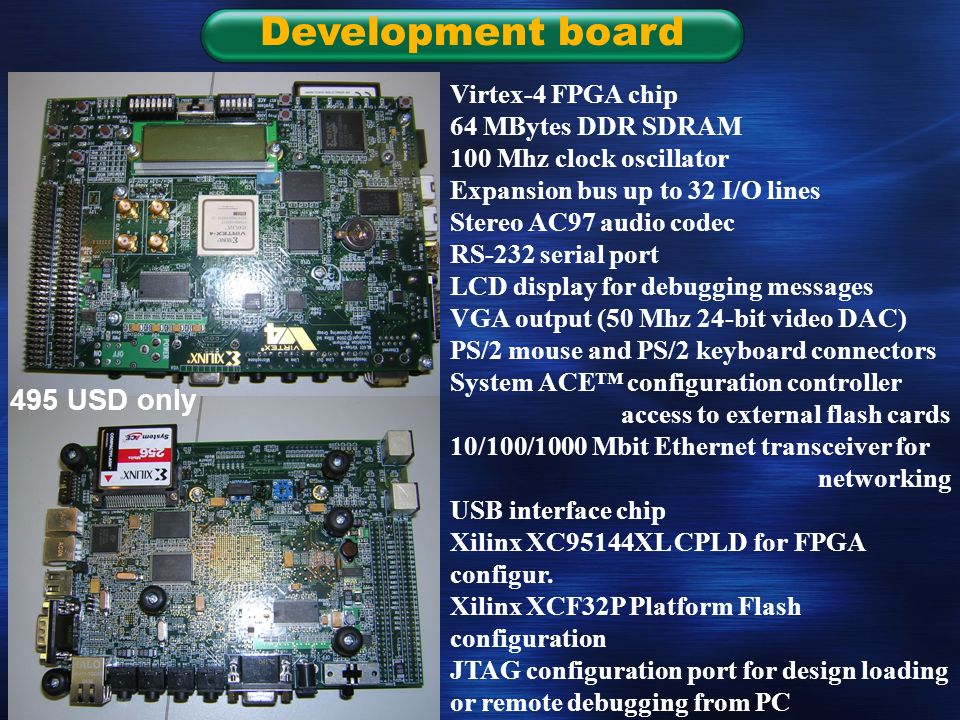 Slide 18 Development board Virtex-4 FPGA chip 64 MBytes DDR SDRAM 100 Mhz clock oscillator Expansion bus up to 32 I/O lines Stereo AC97 audio codec RS