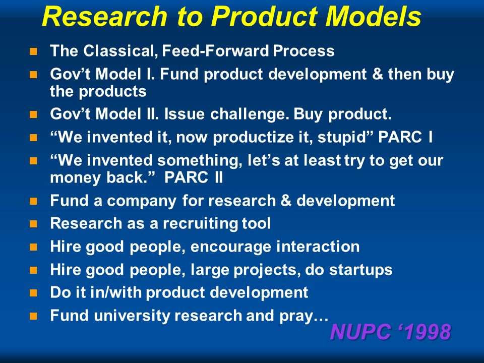 NUPC 1998 From Questionable...Great Research & Book Reports to Poor...Profitable Product: and then a miracle happens For New Uses of PCs Conference… also New Paradigms for Using Computers July 1998 Gordon Bell Microsoft Corp.