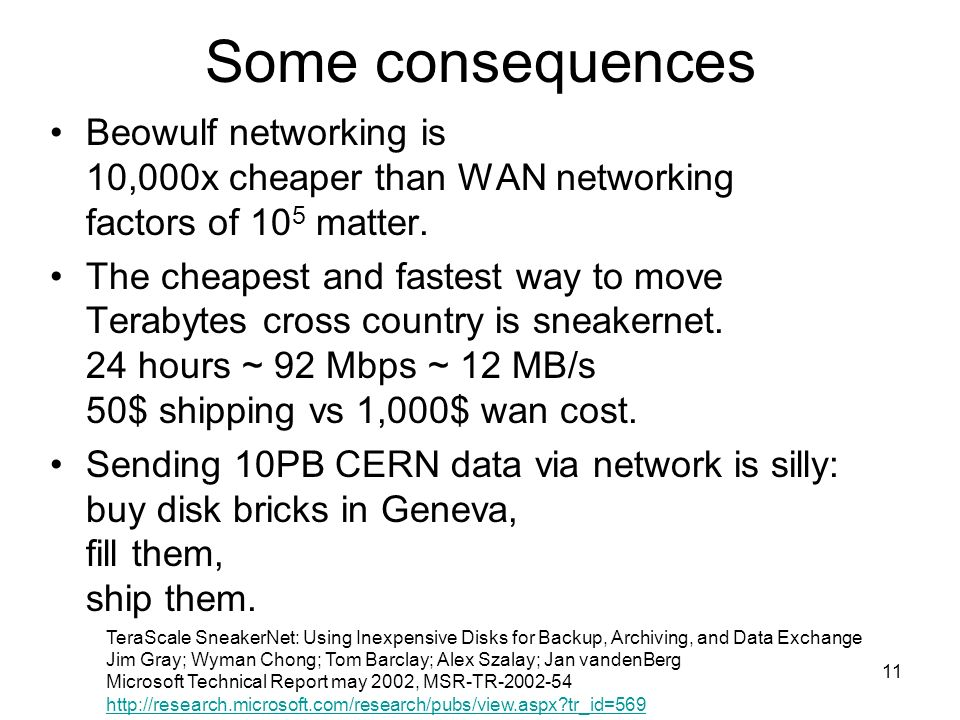 11 Some consequences Beowulf networking is 10,000x cheaper than WAN networking factors of 10 5 matter.