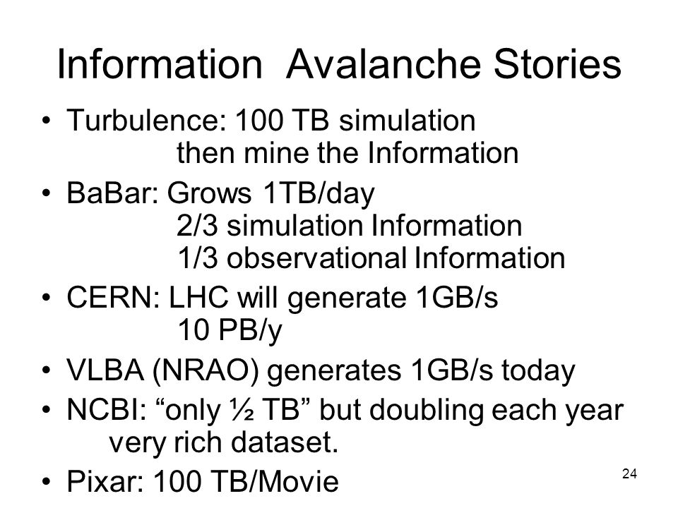 24 Information Avalanche Stories Turbulence: 100 TB simulation then mine the Information BaBar: Grows 1TB/day 2/3 simulation Information 1/3 observational Information CERN: LHC will generate 1GB/s 10 PB/y VLBA (NRAO) generates 1GB/s today NCBI: only ½ TB but doubling each year very rich dataset.