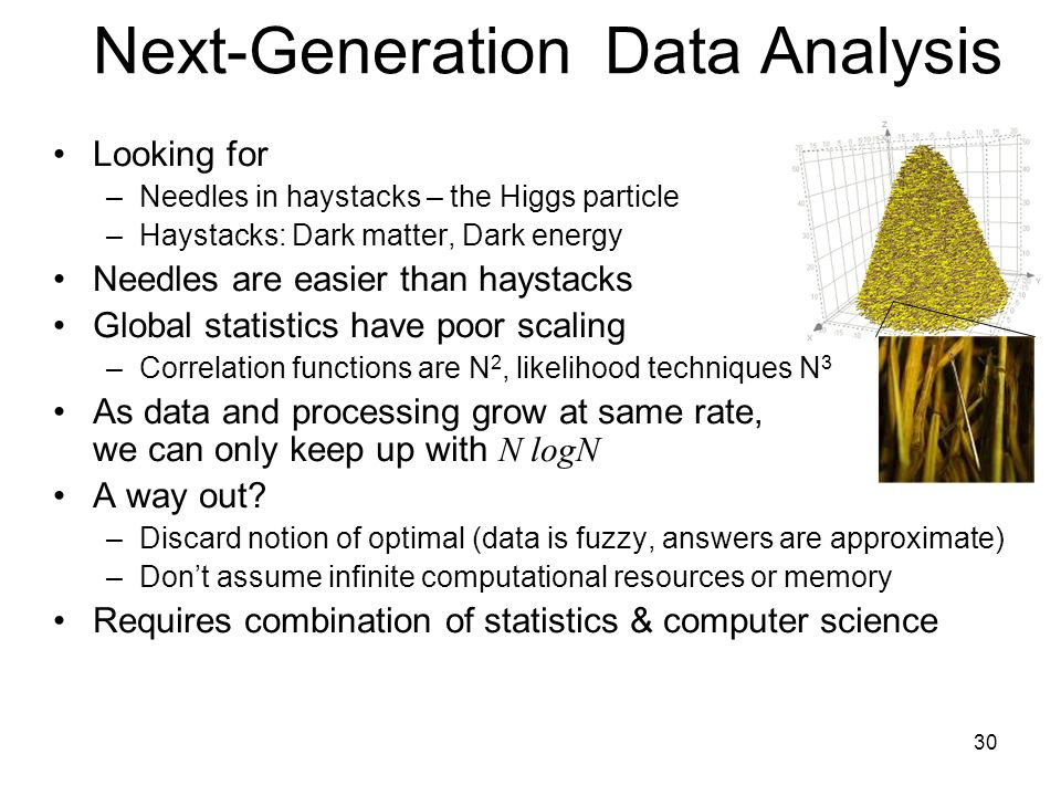 30 Next-Generation Data Analysis Looking for –Needles in haystacks – the Higgs particle –Haystacks: Dark matter, Dark energy Needles are easier than haystacks Global statistics have poor scaling –Correlation functions are N 2, likelihood techniques N 3 As data and processing grow at same rate, we can only keep up with N logN A way out.