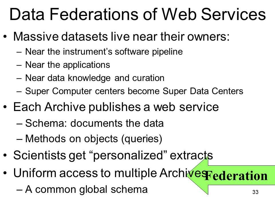33 Federation Data Federations of Web Services Massive datasets live near their owners: –Near the instruments software pipeline –Near the applications –Near data knowledge and curation –Super Computer centers become Super Data Centers Each Archive publishes a web service –Schema: documents the data –Methods on objects (queries) Scientists get personalized extracts Uniform access to multiple Archives –A common global schema