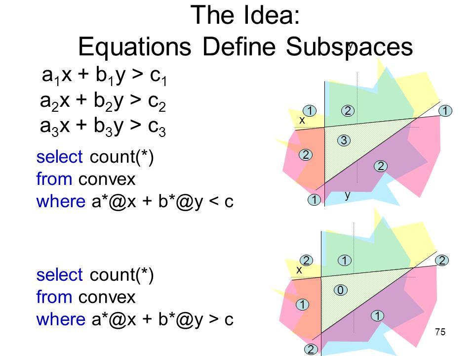 75 The Idea: Equations Define Subspaces a 1 x + b 1 y > c 1 a 2 x + b 2 y > c 2 a 3 x + b 3 y > c 3 x y select count(*) from convex where a*@x + b*@y < c 3 2 2 2 11 1 select count(*) from convex where a*@x + b*@y > c x y 0 1 1 1 22 2