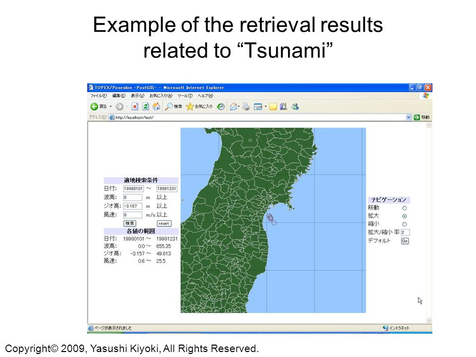 Example of the retrieval results related to Tsunami Copyright© 2009, Yasushi Kiyoki, All Rights Reserved.
