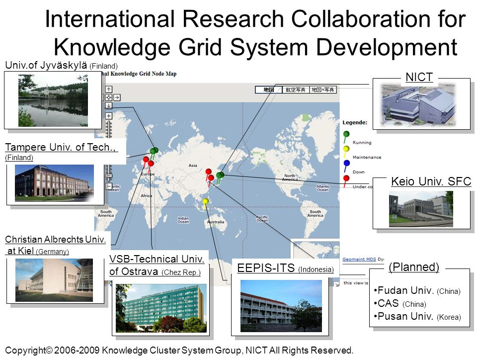 International Research Collaboration for Knowledge Grid System Development NICT Keio Univ.