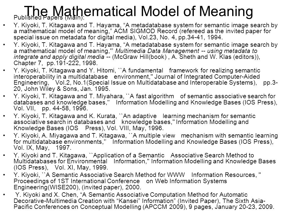 The Mathematical Model of Meaning Published Papers (Main): Y.