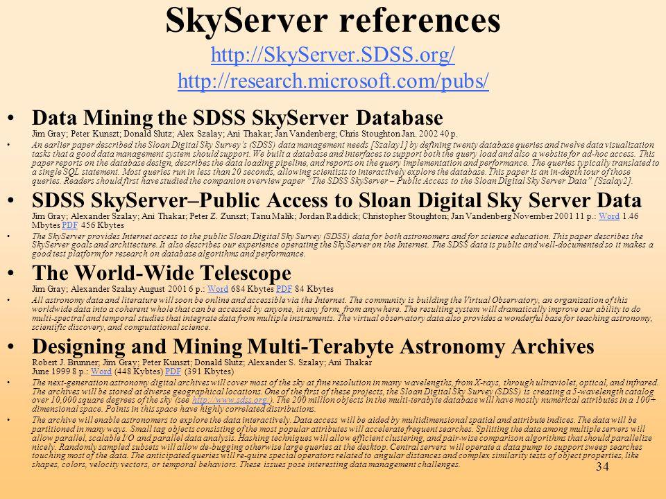 34 SkyServer references http://SkyServer.SDSS.org/ http://research.microsoft.com/pubs/ http://SkyServer.SDSS.org/ http://research.microsoft.com/pubs/ Data Mining the SDSS SkyServer Database Jim Gray; Peter Kunszt; Donald Slutz; Alex Szalay; Ani Thakar; Jan Vandenberg; Chris Stoughton Jan.