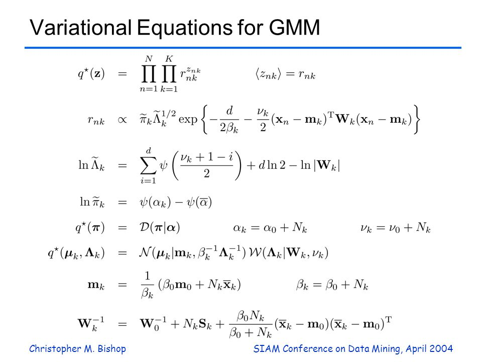 Christopher M. BishopSIAM Conference on Data Mining, April 2004 Variational Equations for GMM