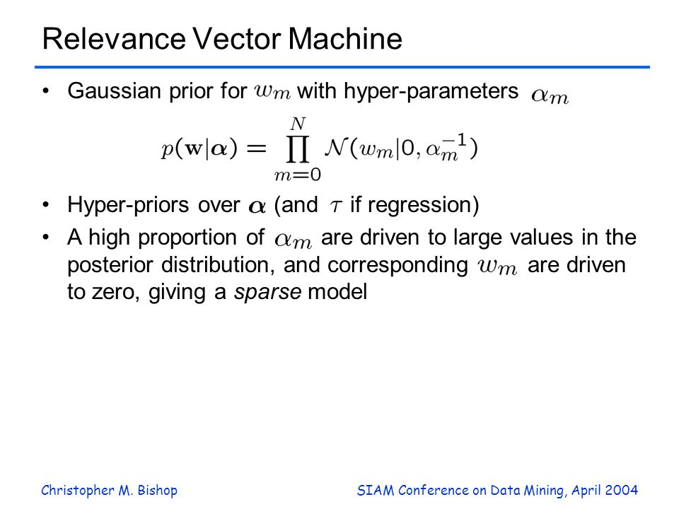 Christopher M. BishopSIAM Conference on Data Mining, April 2004 Relevance Vector Machine Gaussian prior for with hyper-parameters Hyper-priors over (a