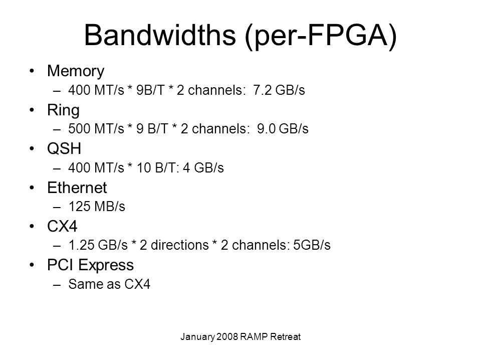 January 2008 RAMP Retreat Bandwidths (per-FPGA) Memory –400 MT/s * 9B/T * 2 channels: 7.2 GB/s Ring –500 MT/s * 9 B/T * 2 channels: 9.0 GB/s QSH –400 MT/s * 10 B/T: 4 GB/s Ethernet –125 MB/s CX4 –1.25 GB/s * 2 directions * 2 channels: 5GB/s PCI Express –Same as CX4