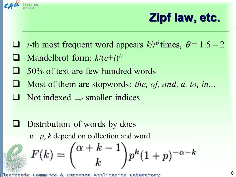 10 Zipf law, etc.