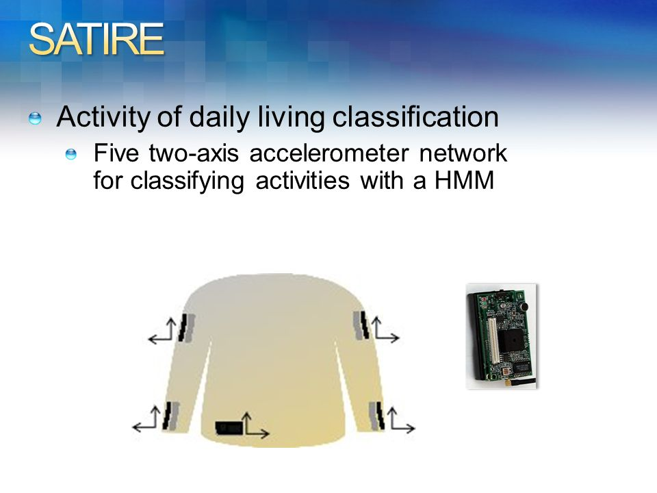 Activity of daily living classification Five two-axis accelerometer network for classifying activities with a HMM
