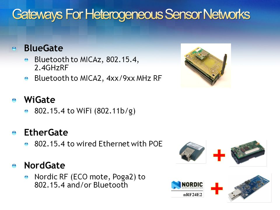 Bluetooth to MICAz, 802.15.4, 2.4GHzRF Bluetooth to MICA2, 4xx/9xx MHz RF WiGate 802.15.4 to WiFi (802.11b/g) EtherGate 802.15.4 to wired Ethernet with POE NordGate Nordic RF (ECO mote, Poga2) to 802.15.4 and/or Bluetooth