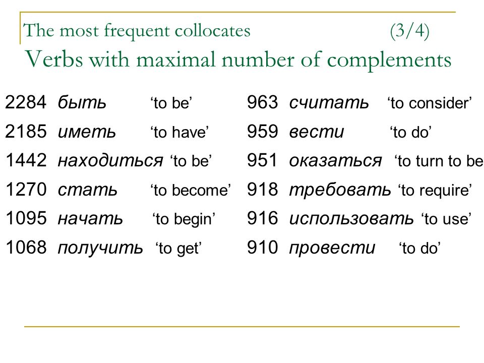 The most frequent collocates (3/4) Verb s with maximal number of complements 2284 быть to be 963 считать to consider 2185 иметь to have 959 вести to do 1442 находиться to be 951 оказаться to turn to be 1270 стать to become 918 требовать to require 1095 начать to begin 916 использовать to use 1068 получить to get 910 провести to do