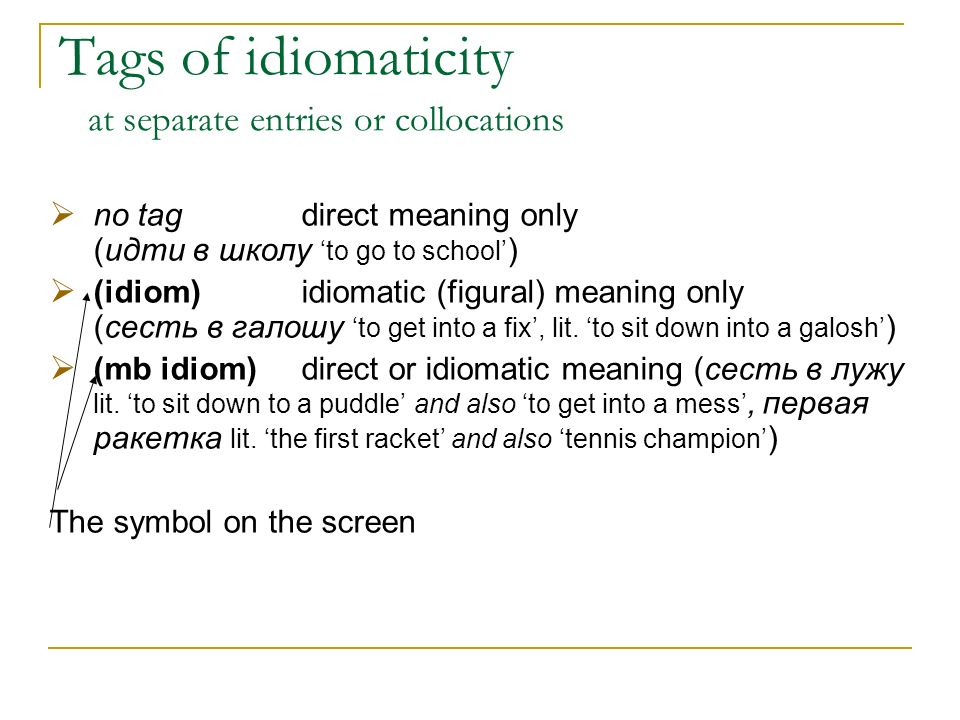 Tags of idiomaticity at separate entries or collocations no tagdirect meaning only (идти в школу to go to school ) (idiom)idiomatic (figural) meaning only (сесть в галошу to get into a fix, lit.