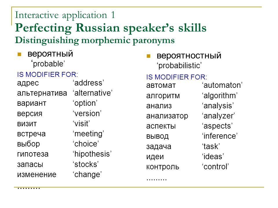 Interactive application 1 Perfecting Russian speakers skills Distinguishing morphemic paronyms вероятный probable IS MODIFIER FOR: адресaddress альтер