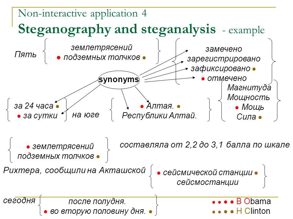 Non-interactive application 4 Steganography and steganalysis - example Пять на юге составляла от 2,2 до 3,1 балла по шкале Рихтера, сообщили на Акташс
