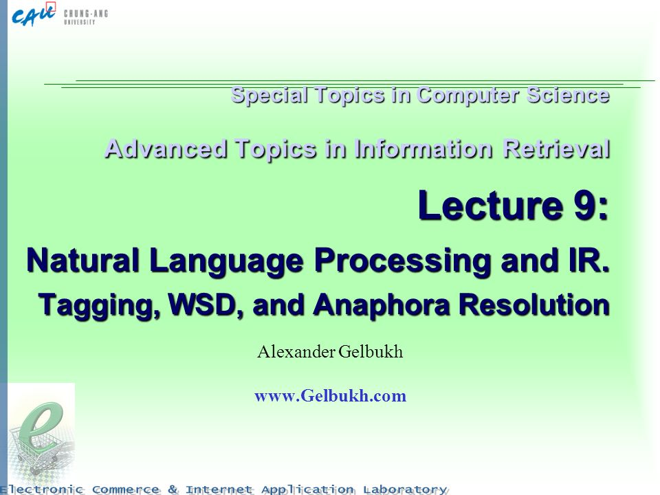 Special Topics in Computer Science Advanced Topics in Information Retrieval Lecture 9: Natural Language Processing and IR. Tagging, WSD, and Anaphora