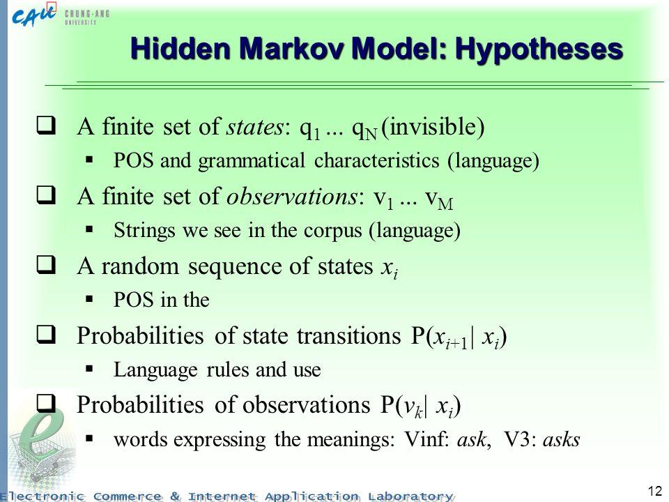 12 Hidden Markov Model: Hypotheses A finite set of states: q 1... q N (invisible) POS and grammatical characteristics (language) A finite set of obser
