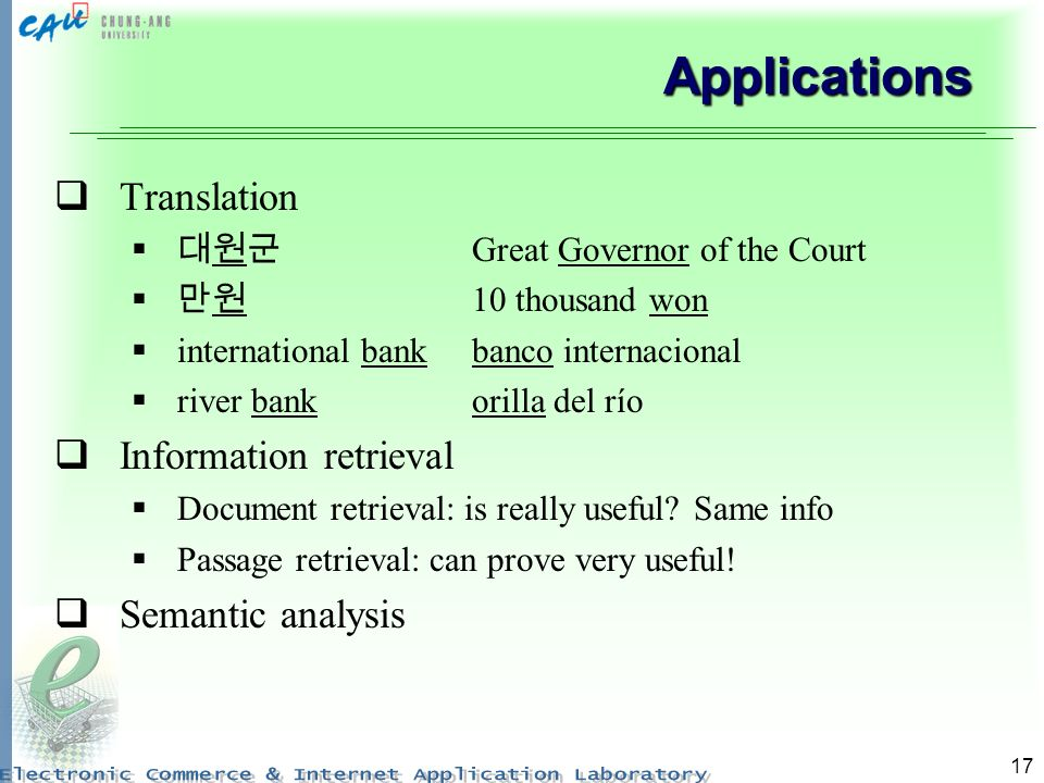 17 Applications Translation Great Governor of the Court 10 thousand won international bankbanco internacional river bankorilla del río Information retrieval Document retrieval: is really useful.