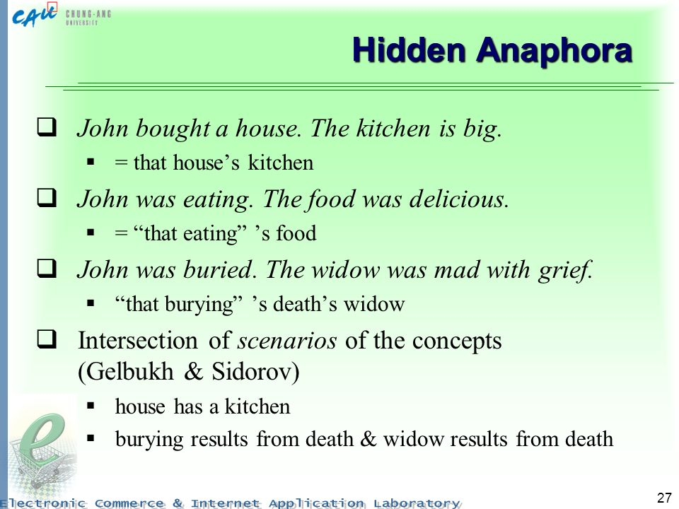27 Hidden Anaphora John bought a house. The kitchen is big.