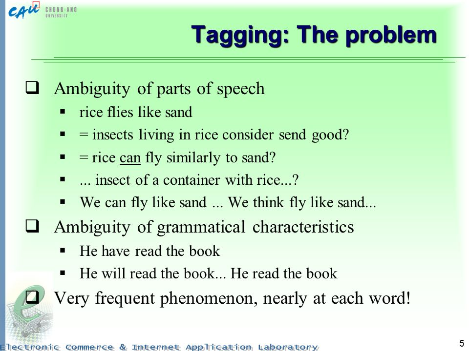5 Tagging: The problem Ambiguity of parts of speech rice flies like sand = insects living in rice consider send good.