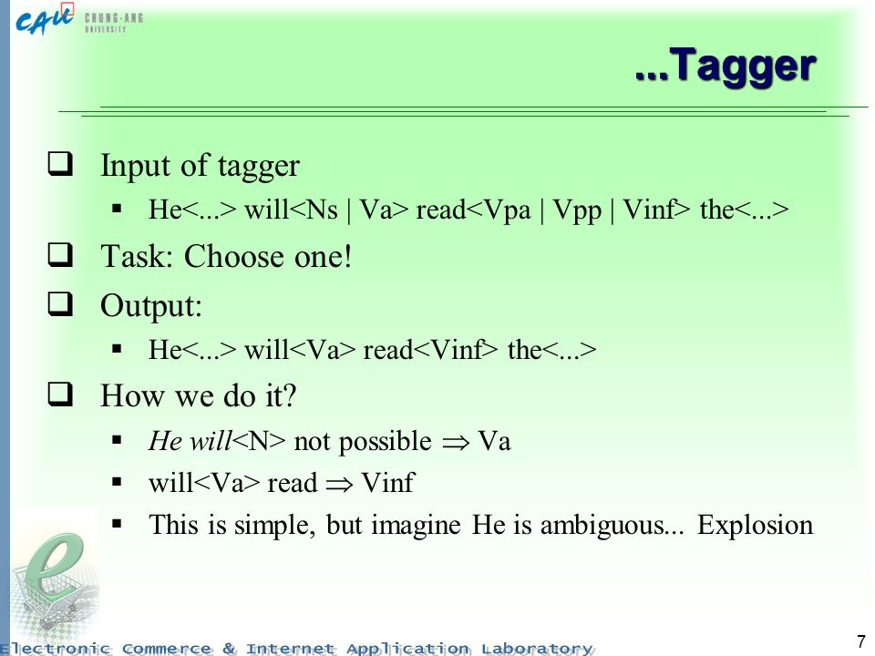 7...Tagger Input of tagger He will read the Task: Choose one! Output: He will read the How we do it? He will not possible Va will read Vinf This is si