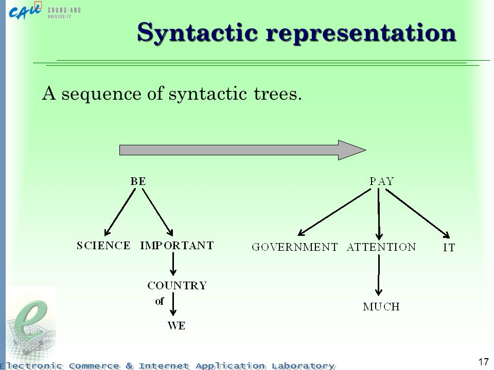 17 Syntactic representation A sequence of syntactic trees.