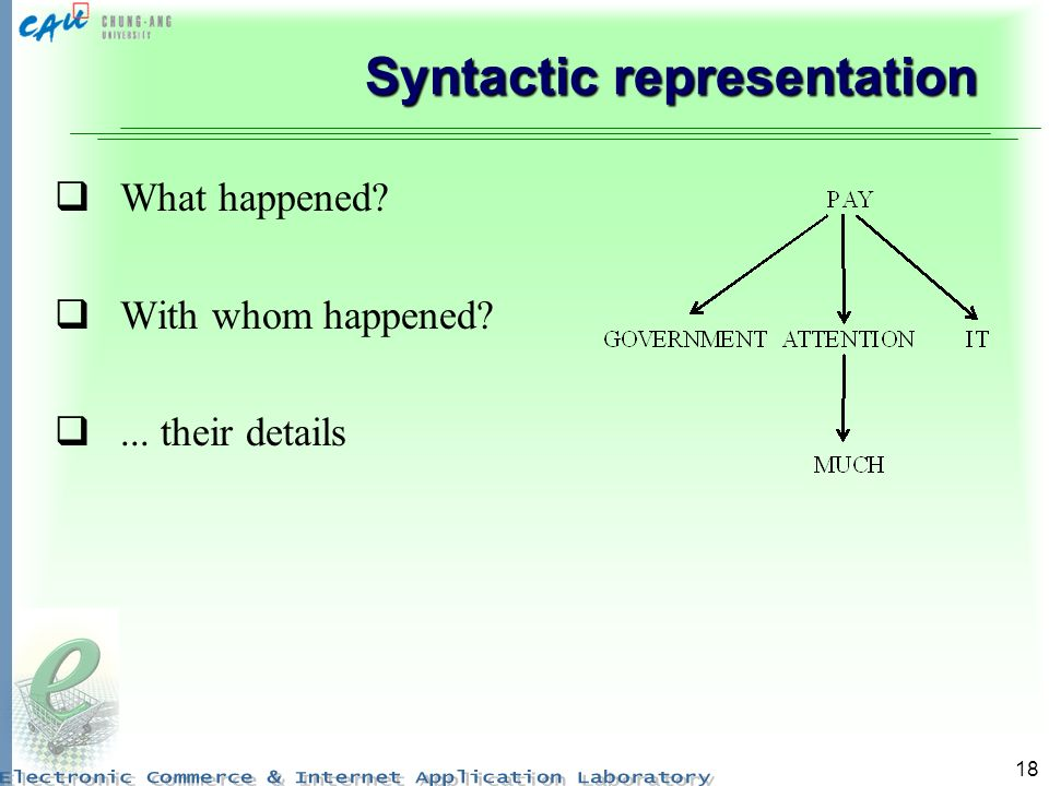18 Syntactic representation What happened? With whom happened?... their details