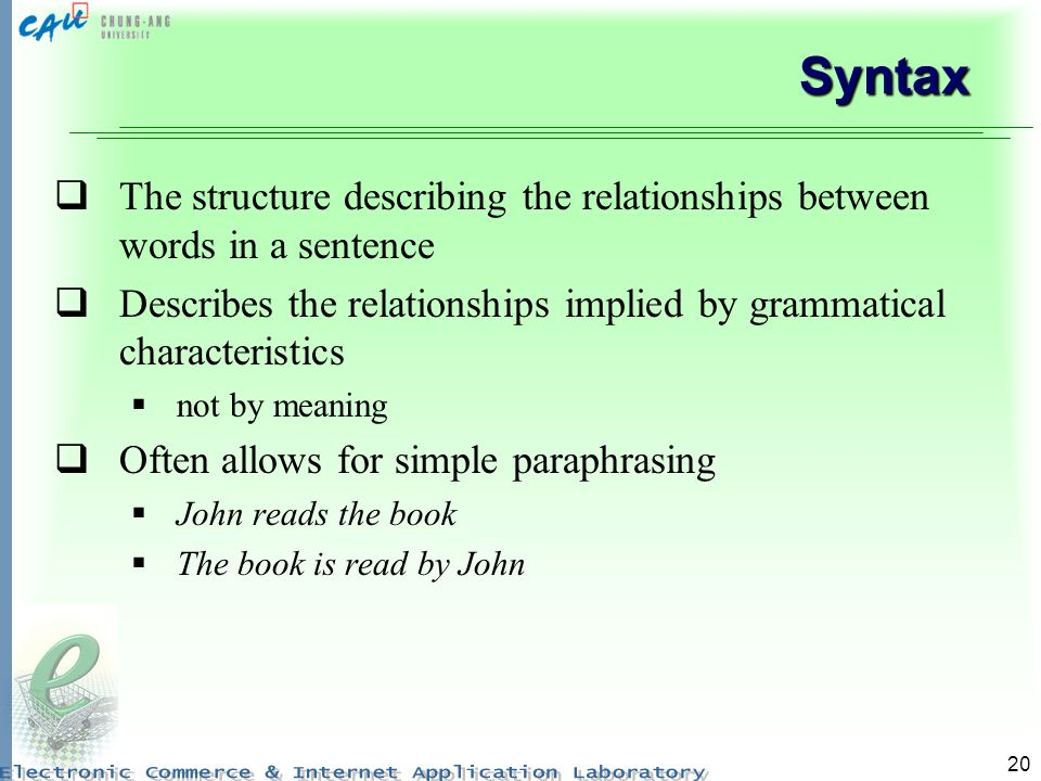 20 Syntax The structure describing the relationships between words in a sentence Describes the relationships implied by grammatical characteristics not by meaning Often allows for simple paraphrasing John reads the book The book is read by John
