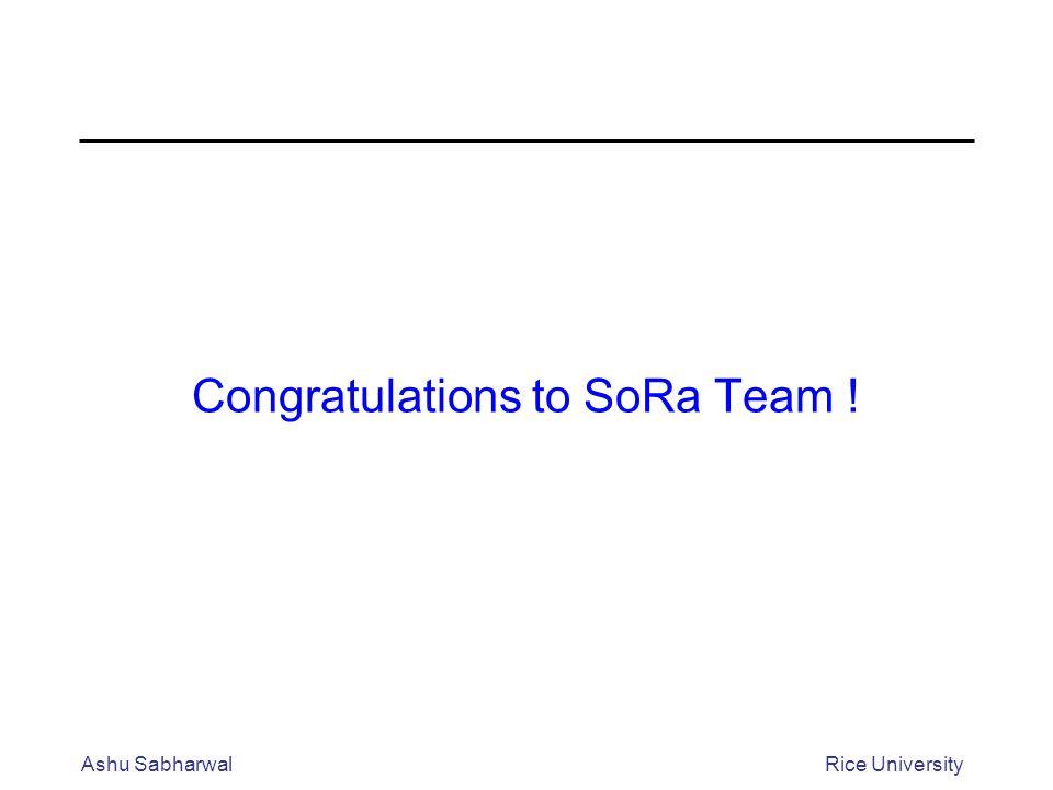 Congratulations to SoRa Team ! Ashu SabharwalRice University