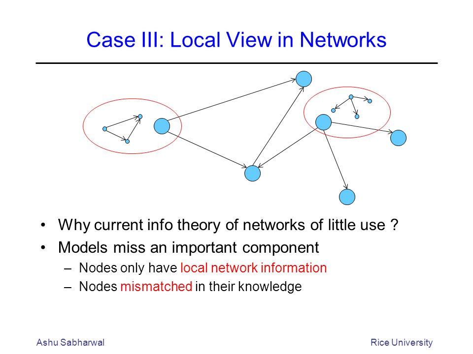 Case III: Local View in Networks Why current info theory of networks of little use .