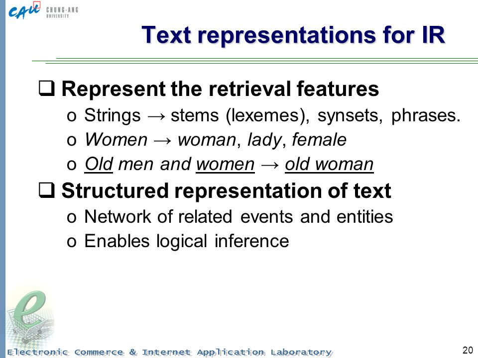 20 Text representations for IR Represent the retrieval features oStrings stems (lexemes), synsets, phrases.