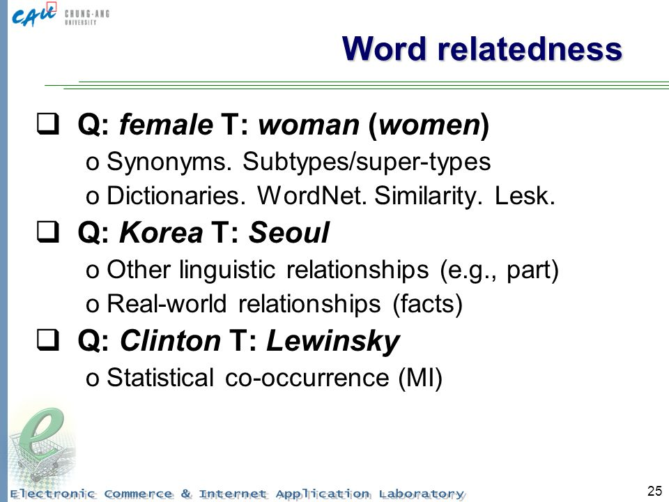 25 Word relatedness Q: female T: woman (women) oSynonyms.